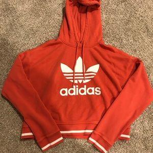 Red Adidas cropped hoodie